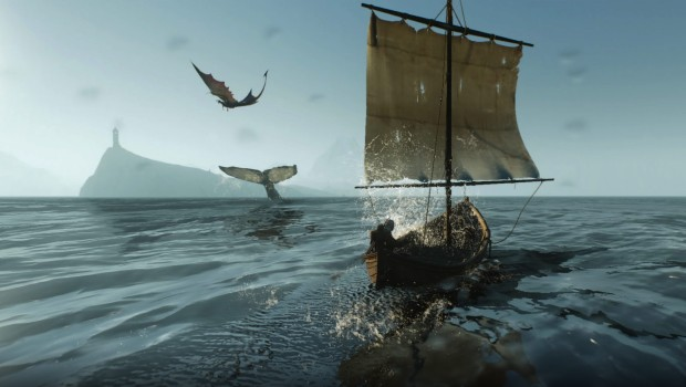 The Witcher 3's beautiful sea, whales, and a dragon