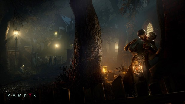 Vampyr screenshot of a vampire attack at night