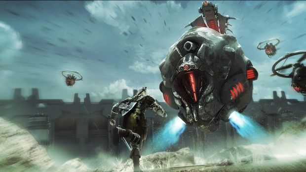 ELEX main character fighting off against a giant robot