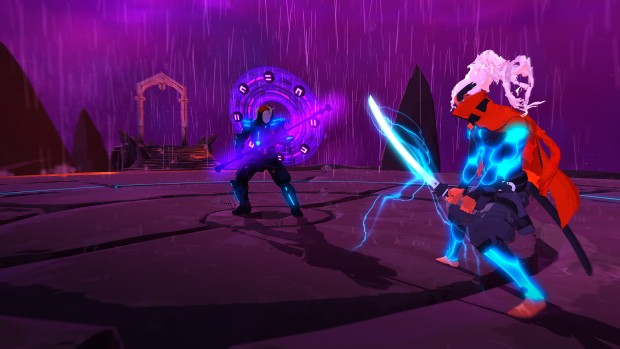 Furi PC gameplay screenshot featuring a boss duel
