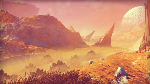 No Man's Sky screenshot featuring alien creatures stampeding
