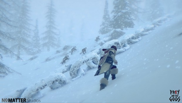 Prey for the Gods a screenshot of wolves and the terrain