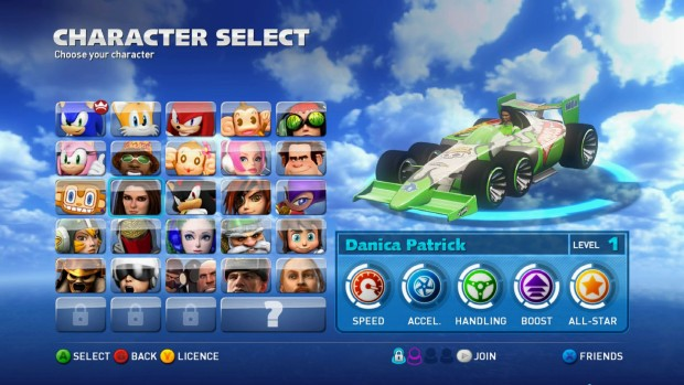 Sonic & All-Stars Racing Transformed character Danica Patrick