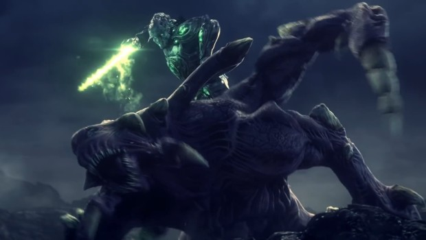 Zeratul fighting against a hybrid in Starcraft Universe