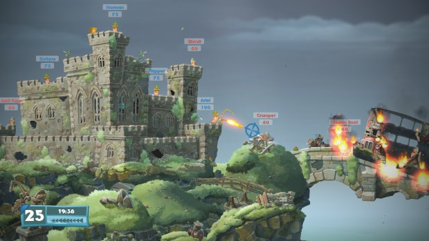 Worms W.M.D. castle screenshot