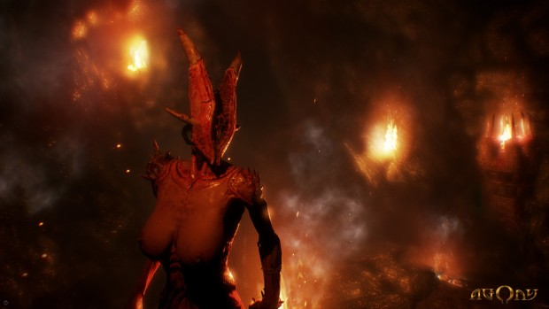Agony game screenshot featuring one of the demons from hell