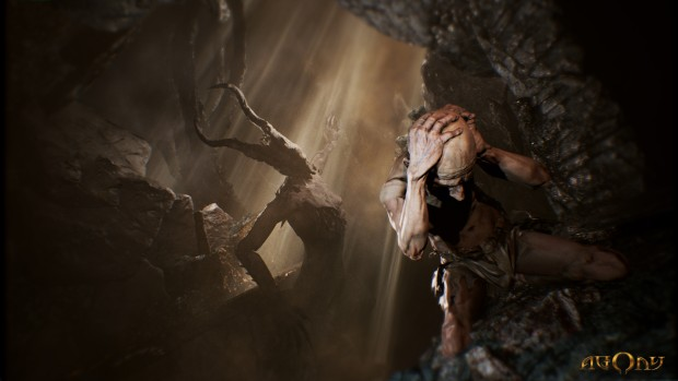 Agony game screenshot featuring a demon and a tormented soul