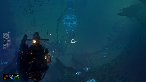 Diluvion's exploration screenshot showing a giant crab