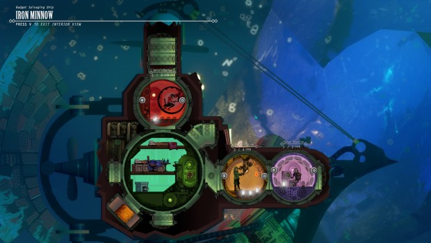 Diluvion screenshot of the interior of the submarine