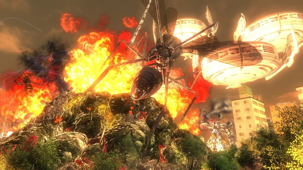 Earth Defense Force 4.1's flaming wasp