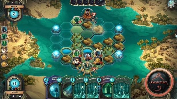 Screenshot from Faeria, a free-to-play card/strategy game