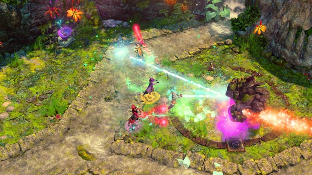 Nine Parchments screenshot featuring a fight against a golem