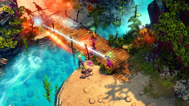 Nine Parchments screenshot showing multiple wizards in battle