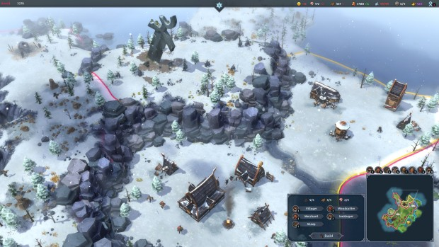 Northgard gameplay screenshot showing snow and a giant sword