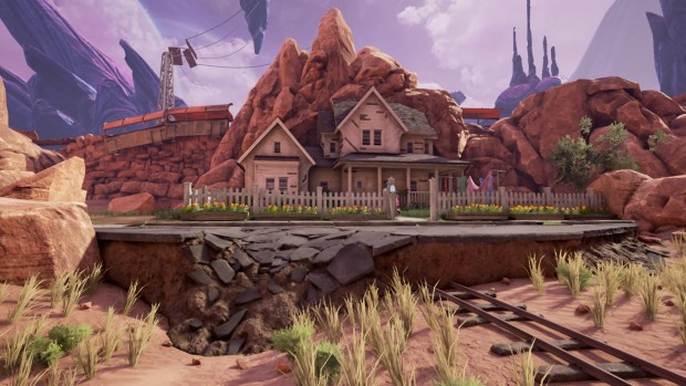 A screenshot from Obduction showing the contrast between the normal and alien