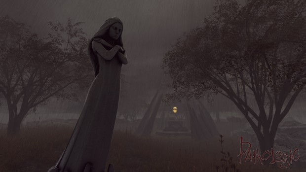 Pathologic's screenshot showing a statue in the rain