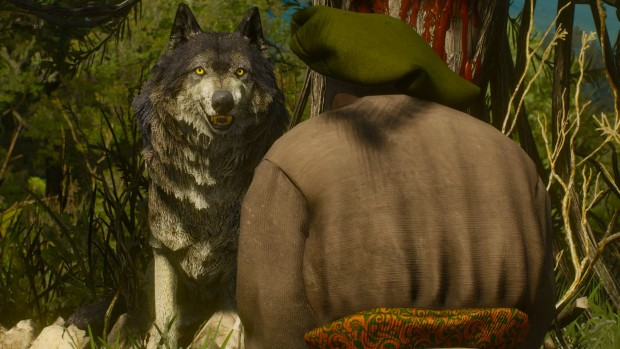 The Witcher 3's bleeding tree and a giant wolf