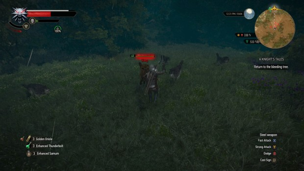 The Witcher 3 combat vs wolves