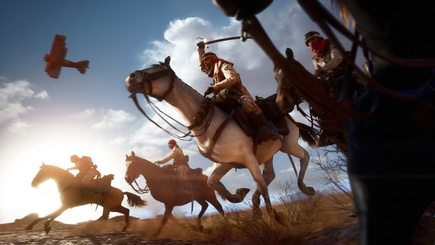 Battlefield 1 screenshot showing camel riders and planes overhead