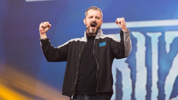 Chris Metzen cheering the crowd