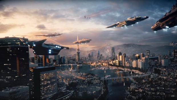 Call of Duty: Infinite Warfare's skyline full of ships