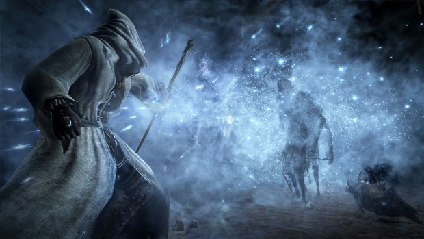 Dark Souls 3 Ashes of Ariandel mage screenshot shooting ice magic