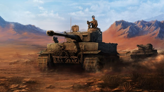 Hearts of Iron IV official artwork of a tank