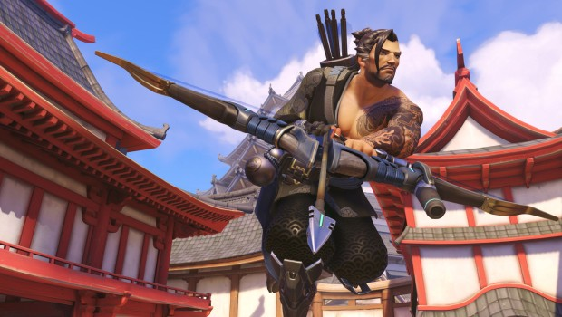 Hanzo from Overwatch walking towards the camera