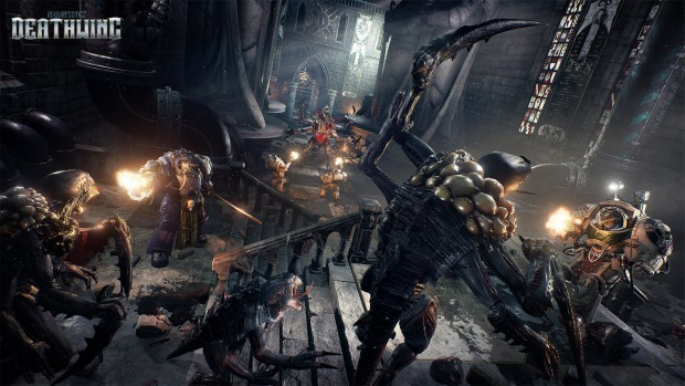 Space Hulk: Deathwing gameplay screenshot showing a bunch of Genestealers