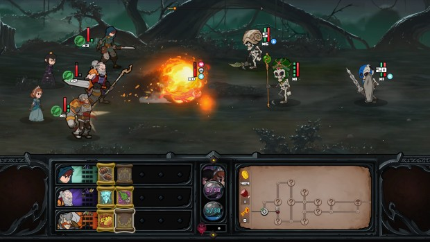 Has-Been Heroes screenshot featuring a battle against skeletons