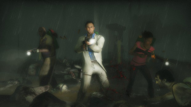 Left 4 Dead 2 screenshot showing our heroes fighting in the dark and the rain