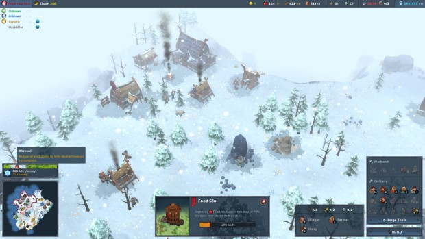 Northgard screenshot featuring an icy blizzard