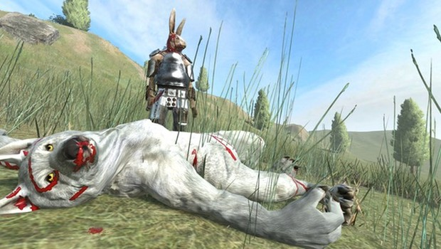 Overgrowth screenshot of a triumphant bunny and a dead wolf