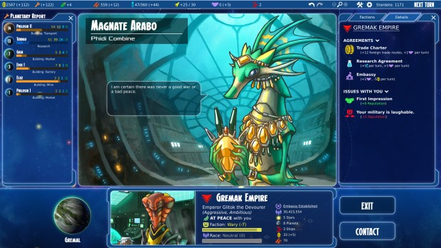 Stars in Shadow screenshot showcasing the diplomacy system