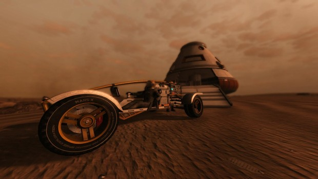 Take on Mars screenshot showcasing a rover and an impending storm