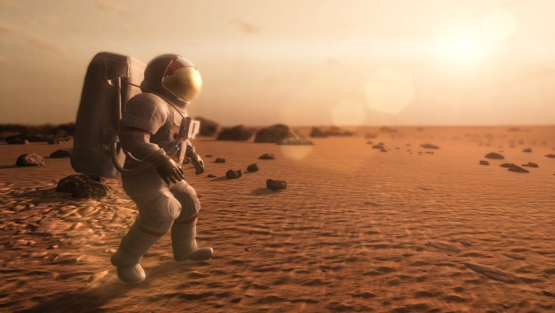 Take on Mars screenshot featuring an astronaut talking a walk