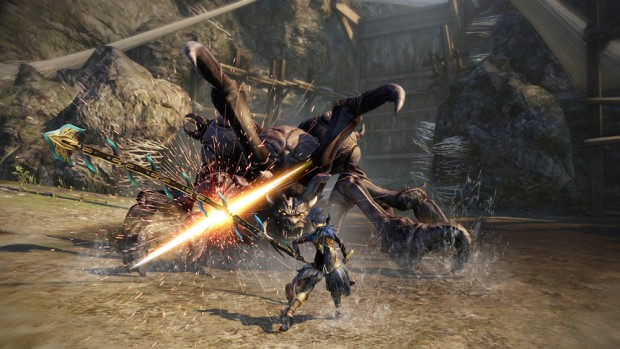 Toukiden 2 screenshot of a whip being used against a demon enemy