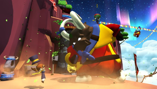 A Hat in Time screenshot of a huge goat-like enemy