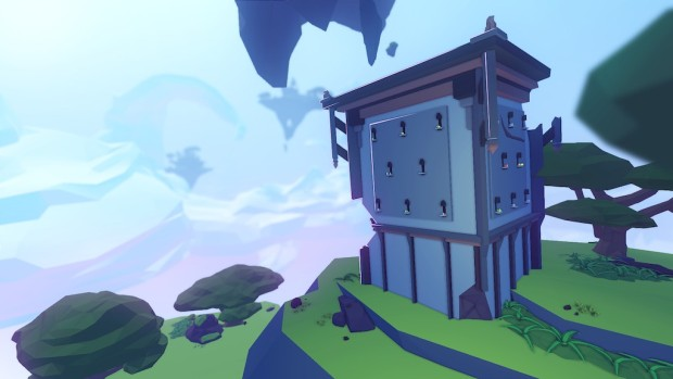 AER screenshot of a house on the hill made entirely out of keyholes