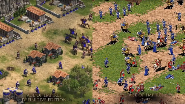 Age of Empires: Definitive Edition comparison between the new and original visuals