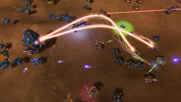Ashes of the Singularity screenshot of a laser/lightning weapon in use