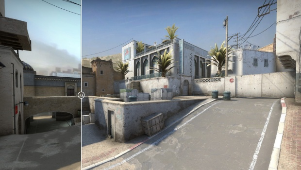 CS:GO screenshot of the new and remastered A site on Dust2