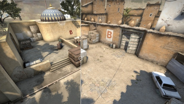 CS:GO screenshot of the new and improved Dust2 B site