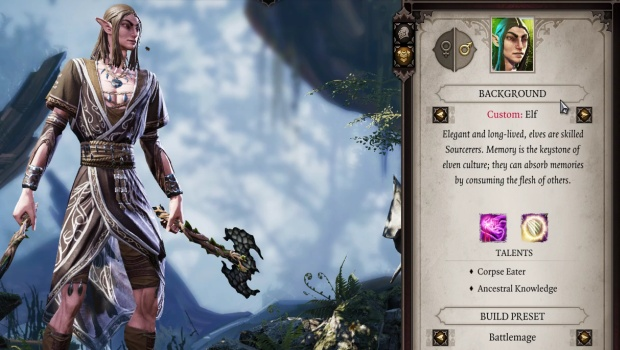 Divinity: Original Sin 2 screenshot of the Elf character creator
