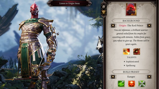 Divinity: Original Sin 2 screenshot of the Red Prince character creator