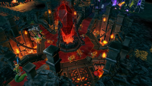 Dungeons 3 screenshot of a giant blood-red crystal