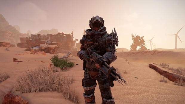Elex screenshot of a Outlaw in armor