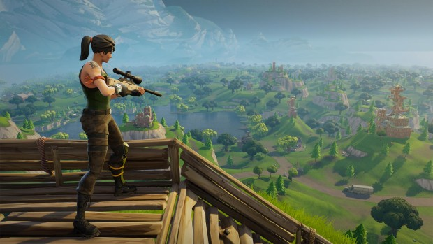 Fortnite's sniper standing on top of a wooden fort