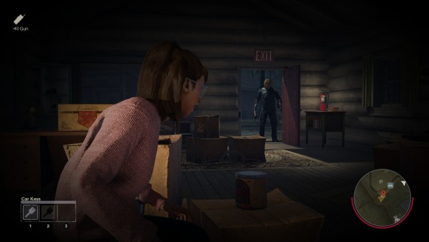 Friday the 13th screenshot of Jason entering a building