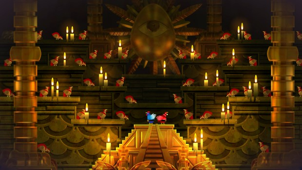Guacamelee! 2 screenshot of a golden chicken temple